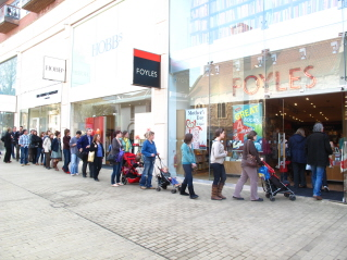 Bristolians queuing for Foyles bookstore opening
