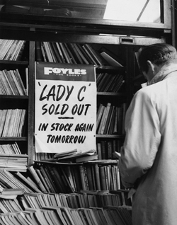Photo of' Lady C sold out' sign at Foyles in 1960