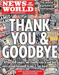Final cover of The News of the World
